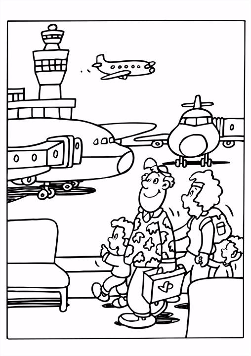 Kleurplaat vliegveld vliegtuigen