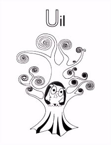 Alfabet kleurplaat U van Uil kristien Pinterest