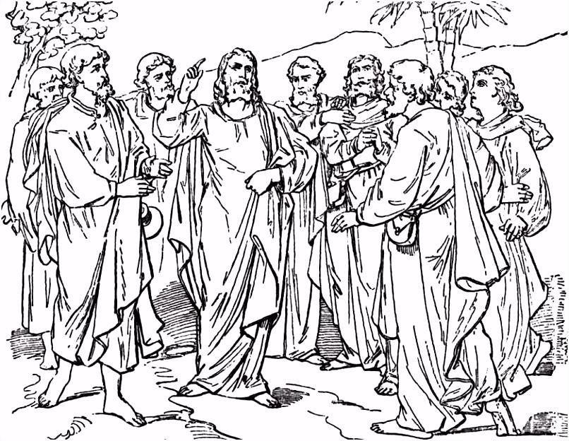 Kleuren Jezus met zijn discipelen kleurplaten