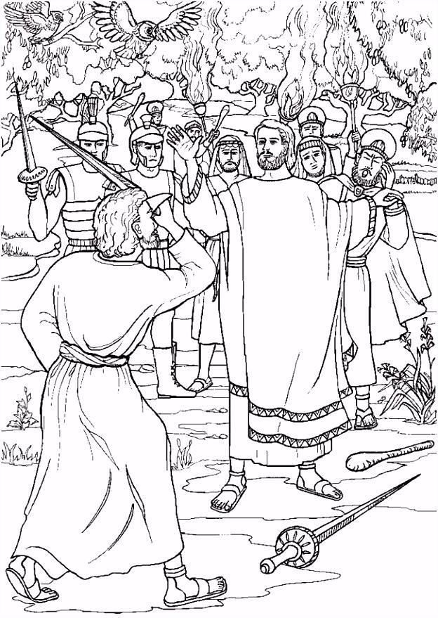 Kleuren Jezus wordt gevangen genomen kleurplaten