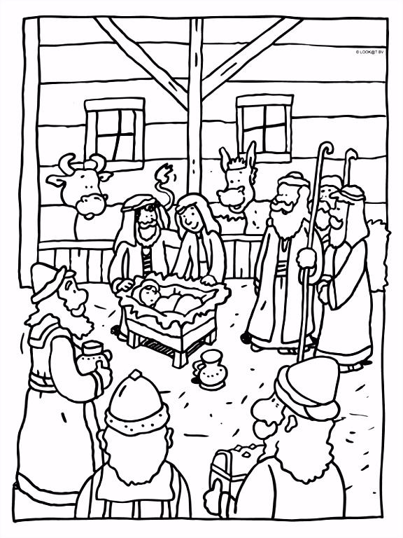 Kleurplaat Kerstmis kindje Jezus geboren Kleurplaten