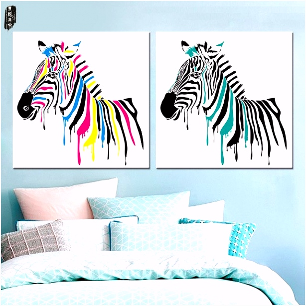 Zebra Wall Art Abstract Dier Canvas Schilderij Modulaire Kleurplaten