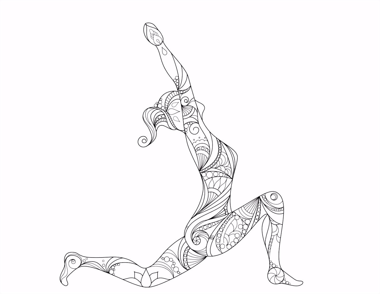 Beautiful Mandala inspired yoga pose Digital Print
