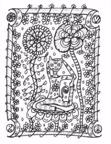 Yoga Kitties Coloring Book Hippie Art hippie by DawnCollinsArt Cat
