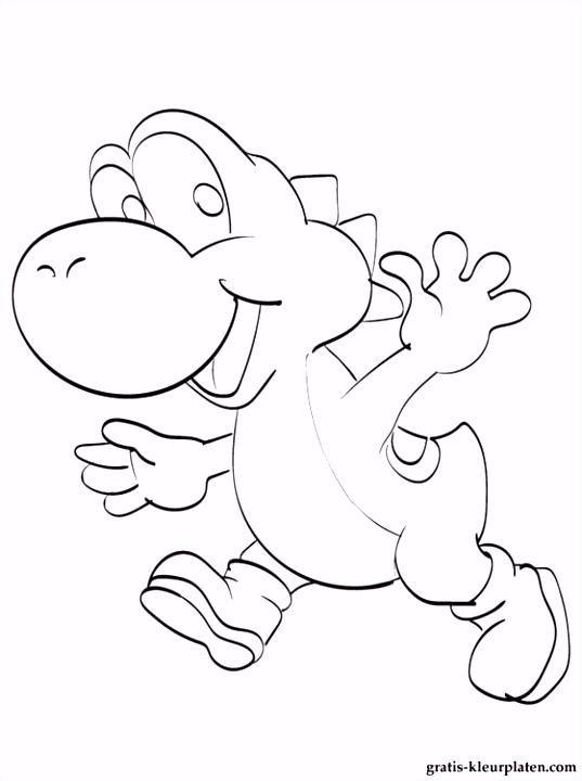 Kleurplaat Yoshi van Mario