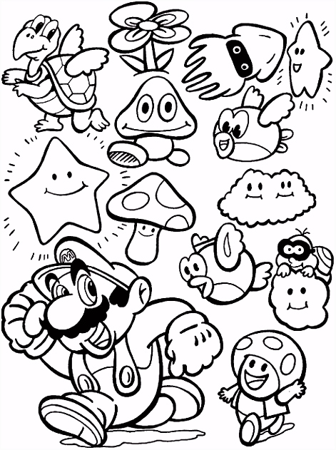 Printable coloring pages Mario Bros Video Games
