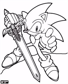 Sir Sonic Sonic met het zwaard van een ridder kleurplaat