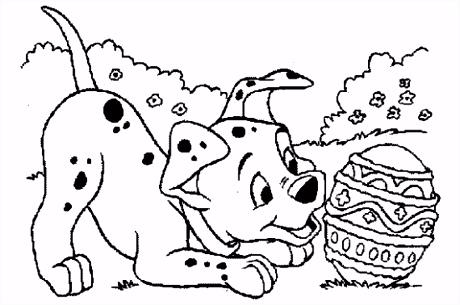 Dalmati r speelt met paasei kleurplaat