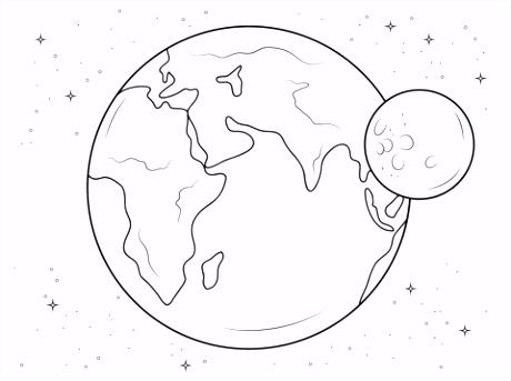 Aarde en maan kleurplaat
