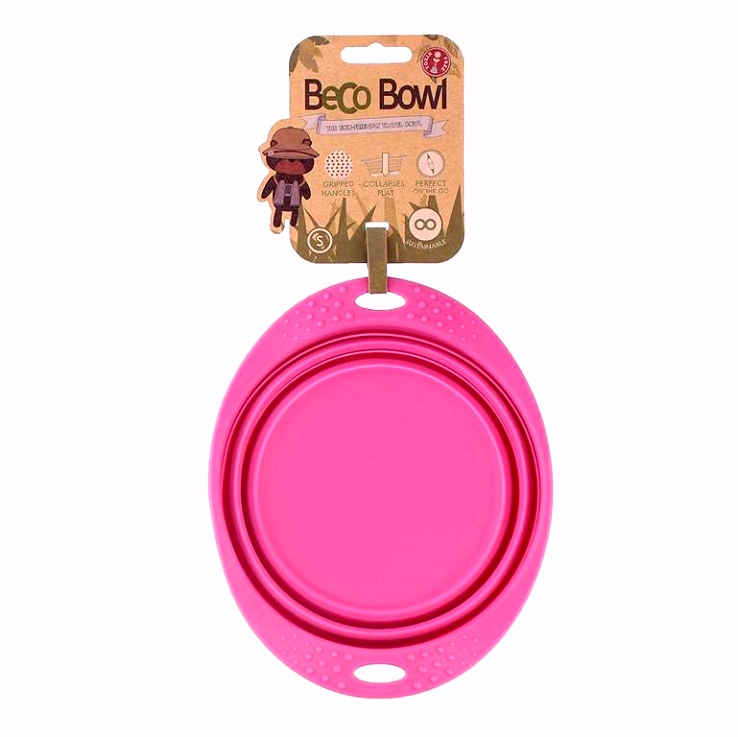 Beco Travel Bowl Small Pink Dog Travel Accessories