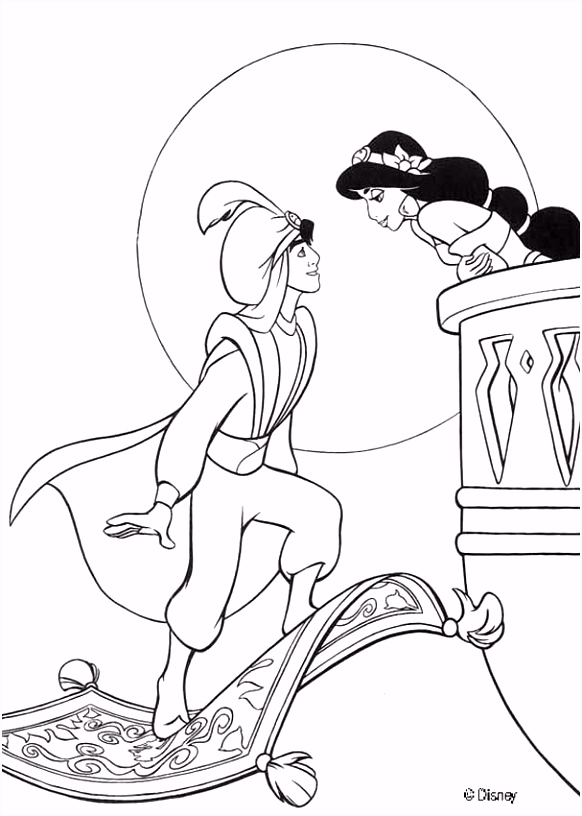 Aladdin coloring pages Princess Jasmine and her pet tiger