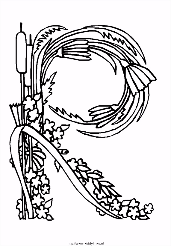 Kleurplaat Alfabet bloemen 4188