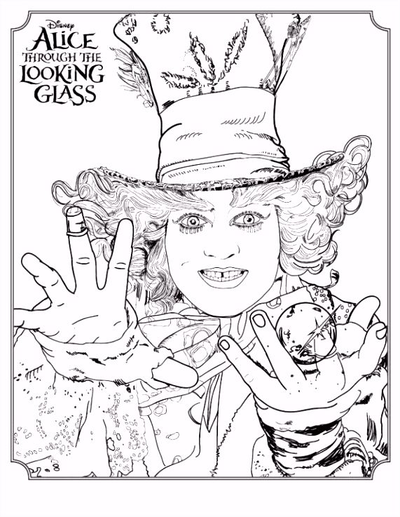Coloring page Alice Through The Looking Glass Mad Hatter on Kids n