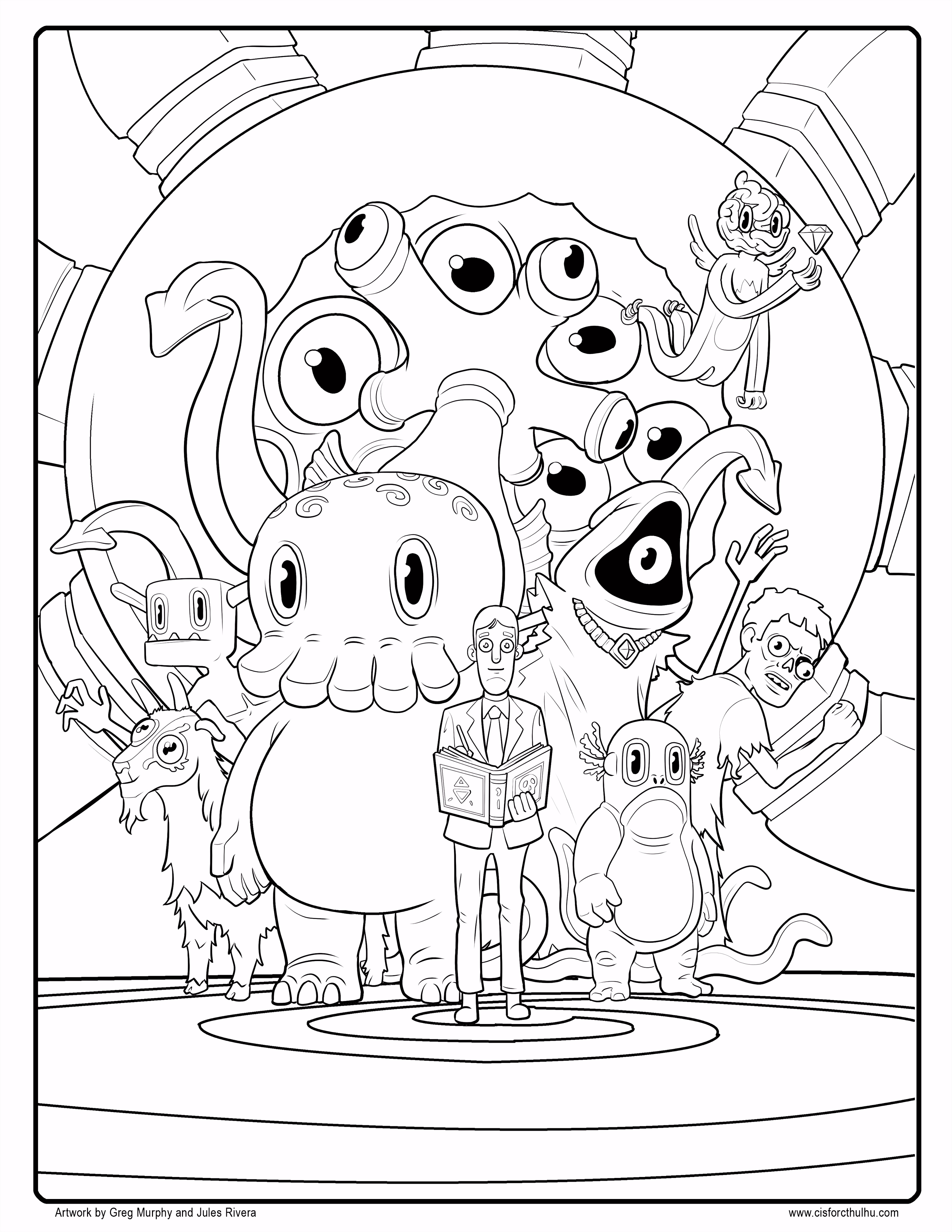Free C is for Cthulhu Coloring Sheet Cool thulhu