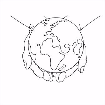 De wereld in Zijn hand Download de kleurplaat op bij