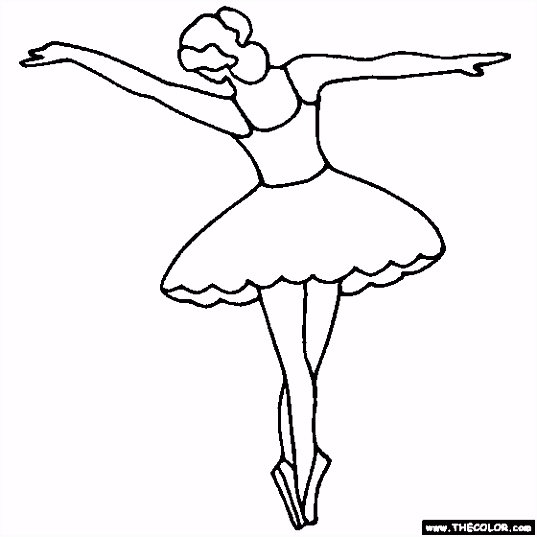 Tip Toe Ballerina Coloring Page