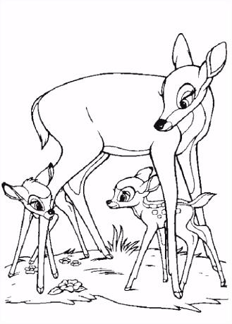Bambi Feline en zijn moeder kleurplaat