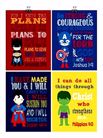 Kleurplaten Batman Amazon Christian Superhero Nursery Decor Art Print Set Of 4 R2or12ttb4 O5hhmmfhn5