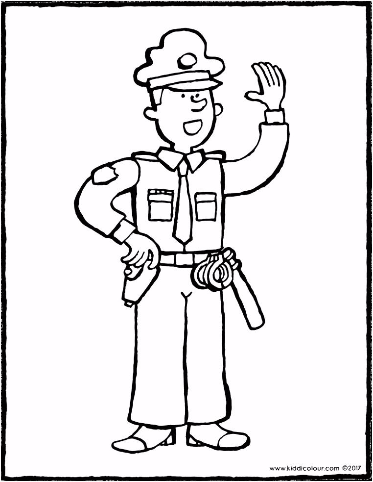 politieman kleurprent 01V thema beroepen Pinterest