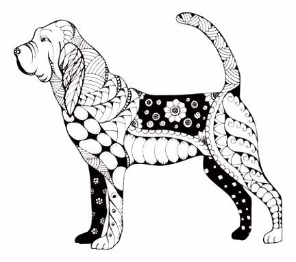 Schotse Terri rhond Zentangle Stileerde Vector Illustratie