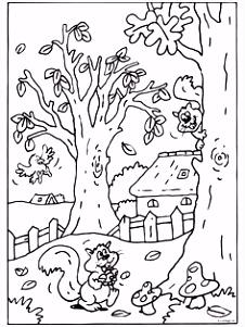 Kleurplaat Herfst eekhoorn eikels Kleurplaten