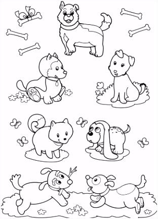 boos blaffende honden kleurplaten pagina — Stockvector © izakowski
