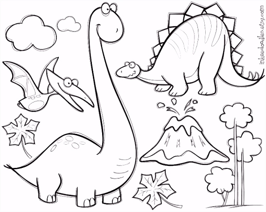 Dinosaur Clipart Digital Stamp Black Doodle Cute Pterodactyl
