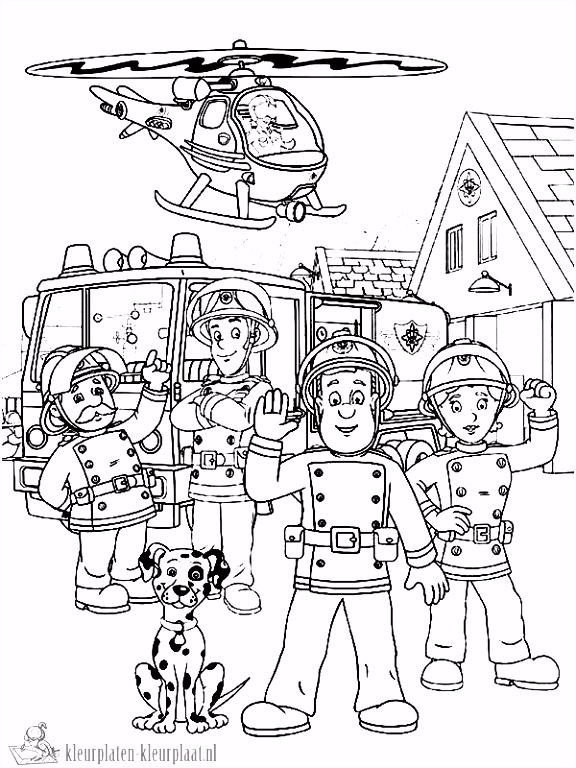 Kleurplaten brandweerman sam