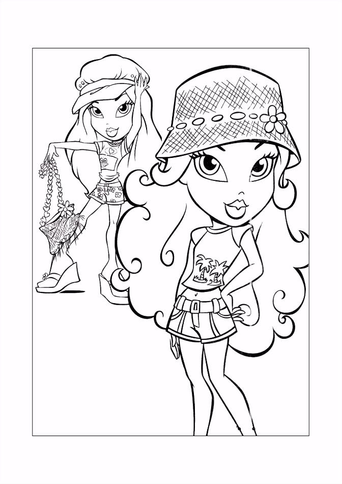 Bratz meisjes met hoed Bratz Kleurplaten Kleurplaat