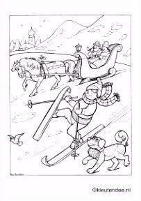 Kleurplaat skie n kleuteridee winter preschool coloring Thema