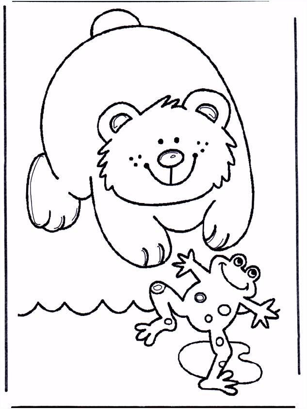 Kikker en beer Kleurplaat ren