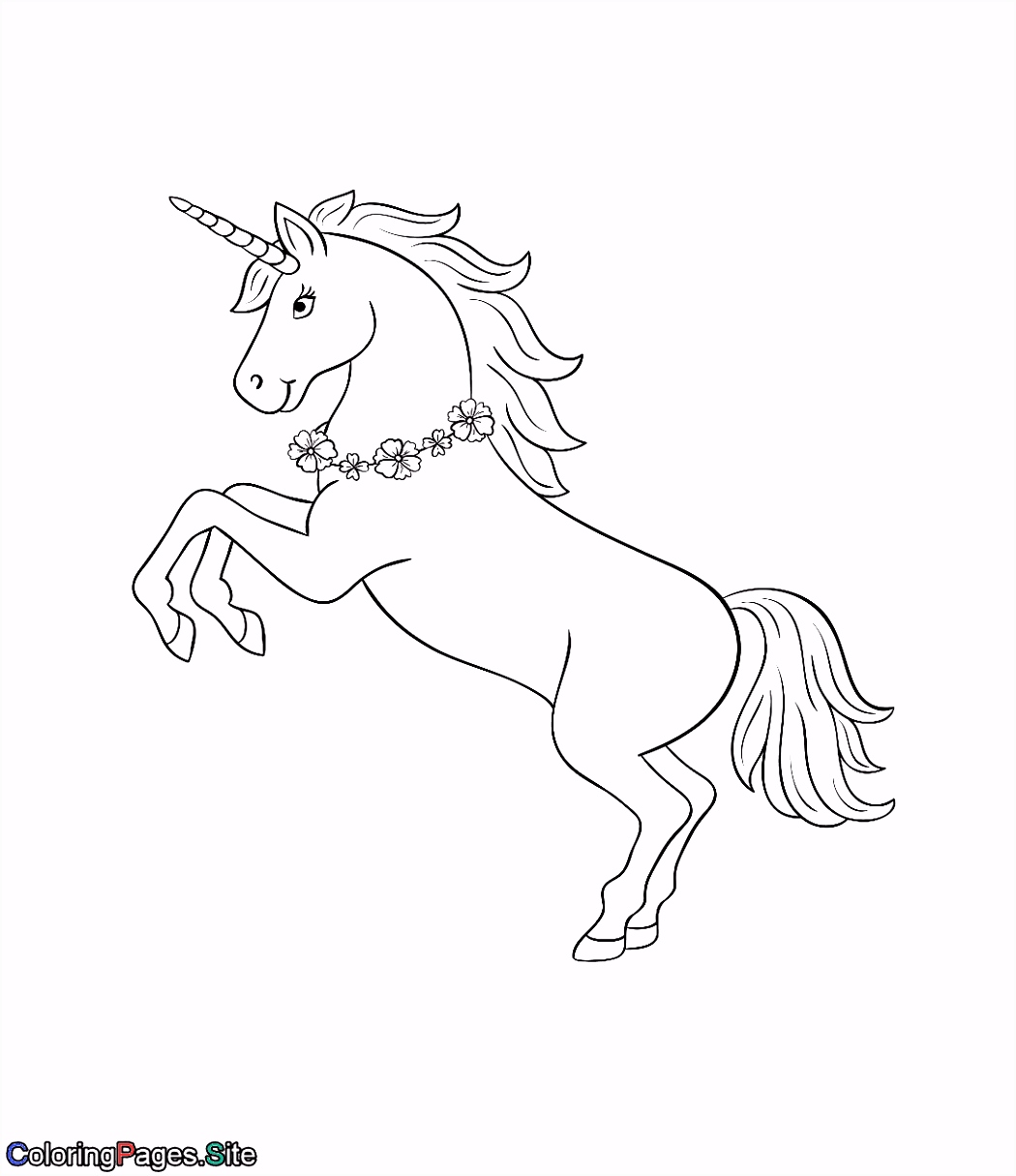 Unicorn with a flowers necklace coloring page