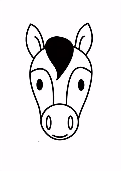 Kleurplaat hoofd paard Afb