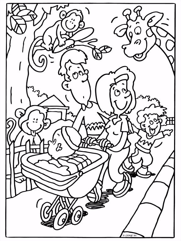 Kleurplaat Familie in de rentuin Kleurplaten