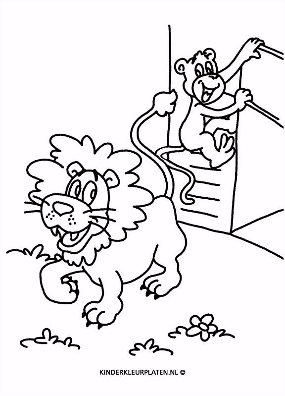 Kleurplaat leeuw aap rentuin DIEREN