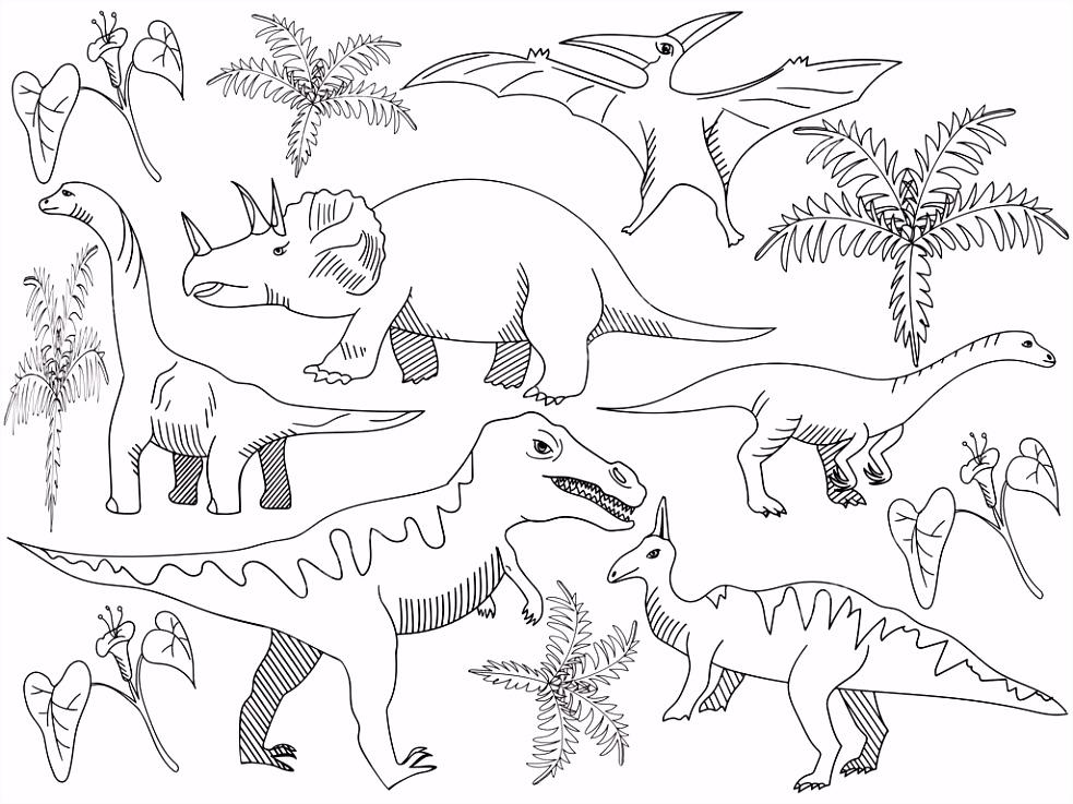 Dinosaurus kleurplaat boek vector voor volwassenen — Stockvector