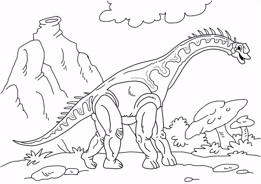 Kleurplaat dinosaurus diplodocus Afb