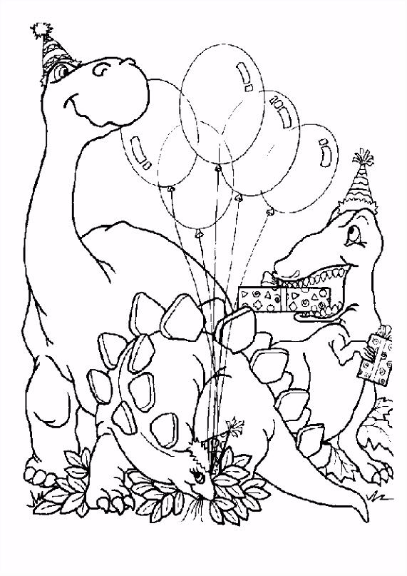 Kleurplaat Dino Verjaardag ARCHIDEV