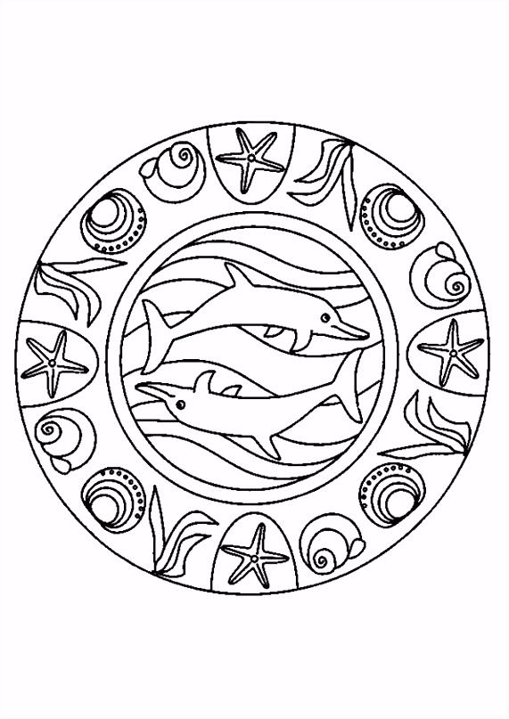 Kleurplaat Dolfijnen Mandala 1 kopen
