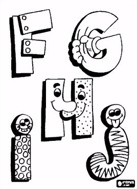 F G H en J met grappige tekeningen Alfabet Letters