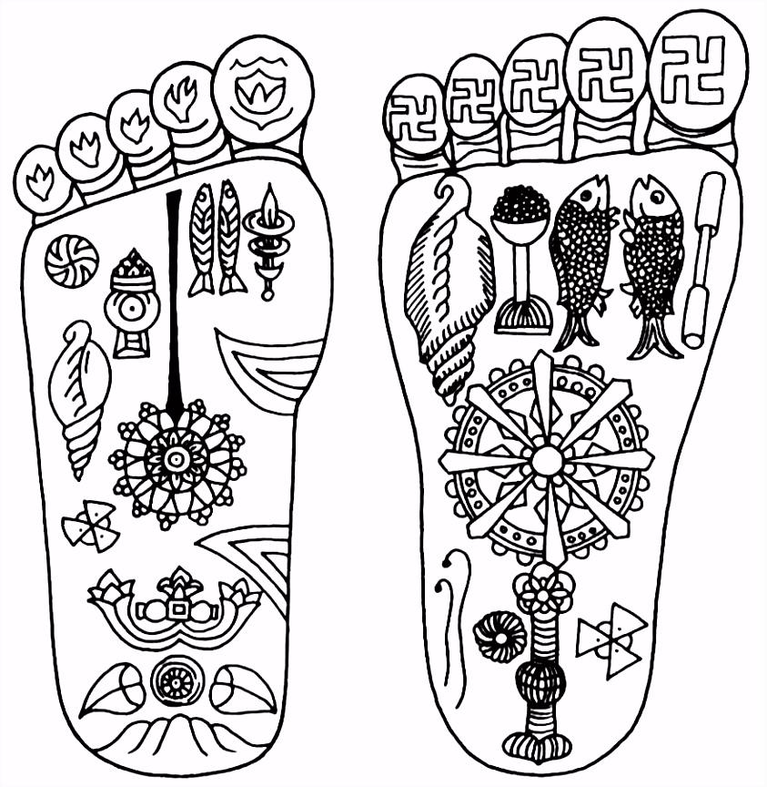 Kleurplaat voeten symbolen Kleurplaat