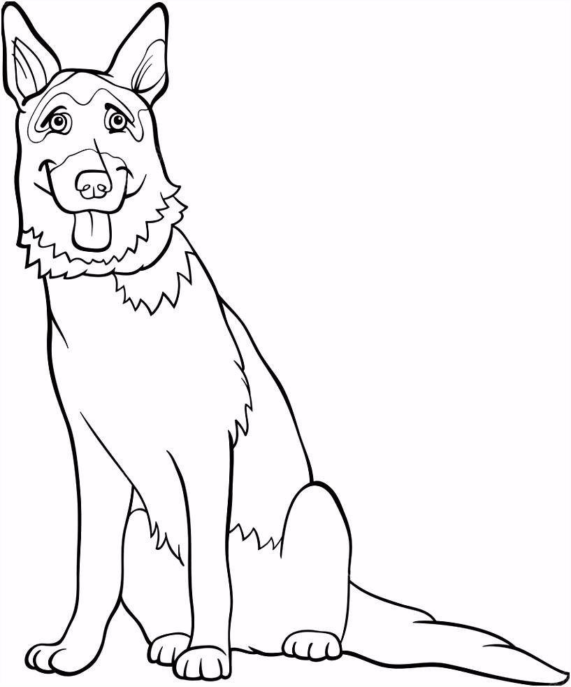 Duitse Herder Honden cartoon om in te kleuren — Stockvector