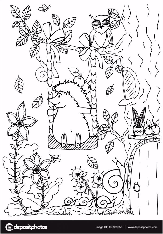 Kleurplaten Egels Doodle Illustratie Van Een Egel Op Een Schommel Vector Kleurplaat I3uq83ejx3 Q5pus0ukas