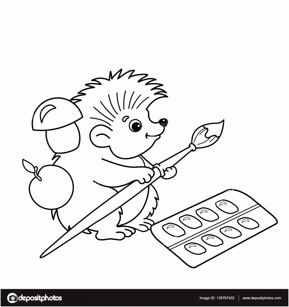 Kleurplaat pagina overzicht van cartoon Egel met borstels en verven