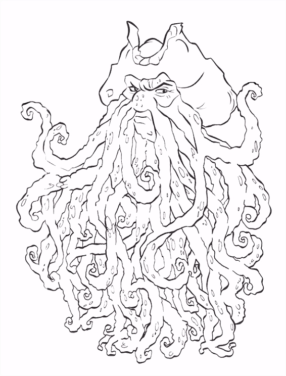 Davy Jones Pirates The Caribbean Coloring Page For Kids