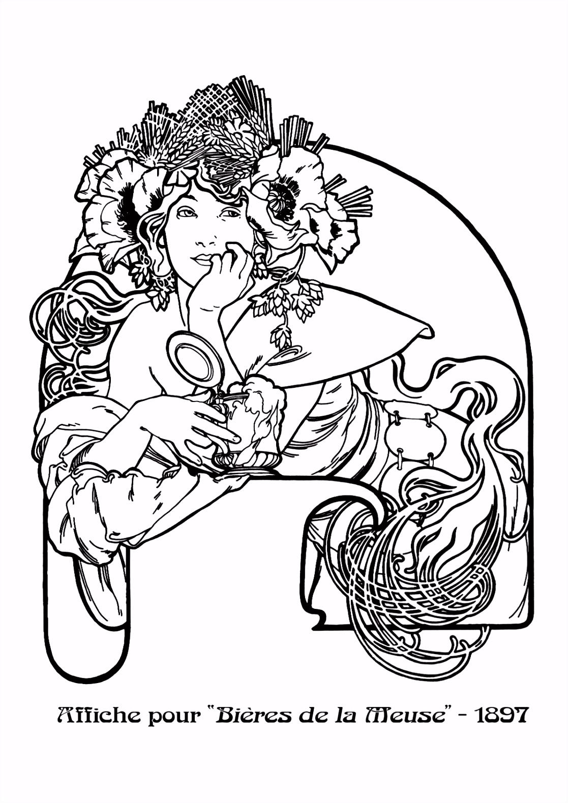 Kleurplaat naar Alfons Mucha Colouring Picture A Mucha like Bi¨res