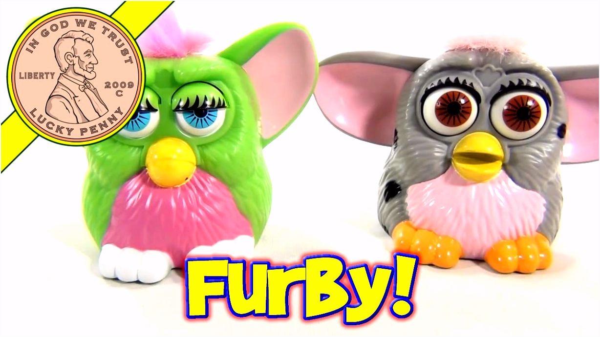 1998 Furby McDonald s Happy Meal Toys Green and Gray Furbys