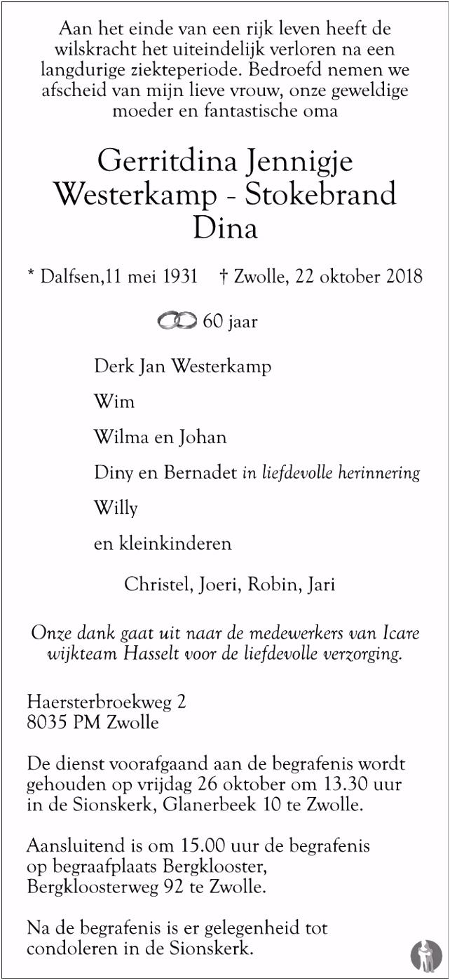 Gerritdina Jennigje Dina Westerkamp Stokebrand ✝ 22 10 2018