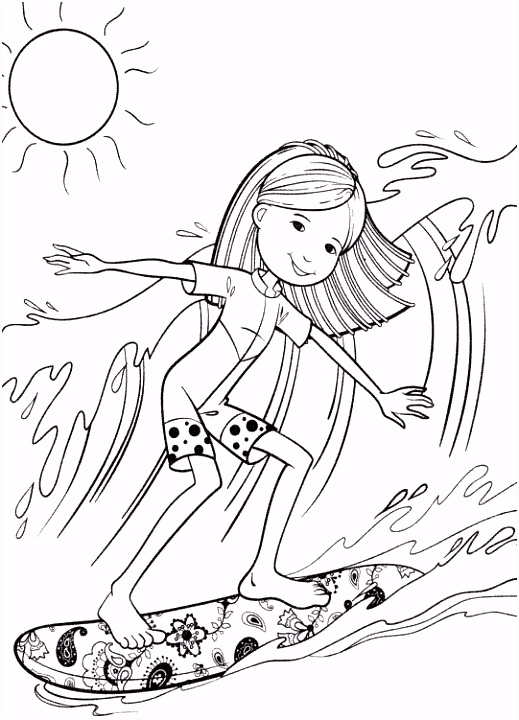 Groovy Girl Surfing Coloring Pages Surf Pinterest