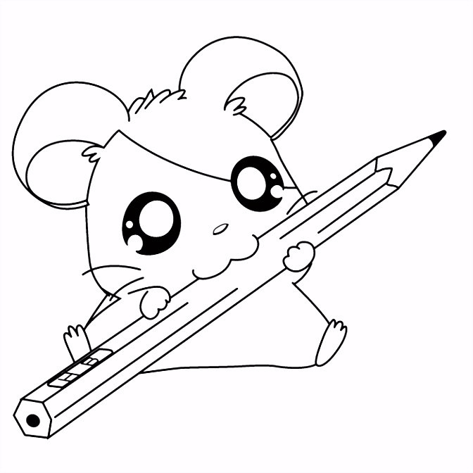 Cute Hamsters Sleeping Hamtaro Coloring Page Cartoon Coloring